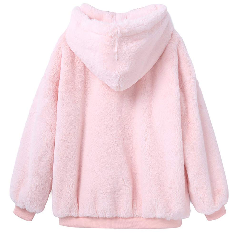 SamMoSon Womens Winter Warm Fluffy Coat Fleece Fur Outerwear Sweatshirt PK/L Pink L