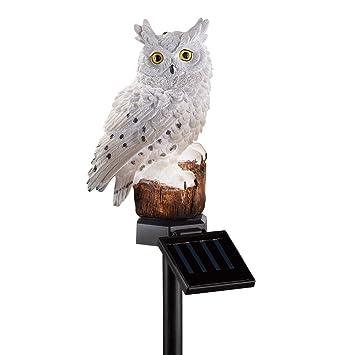 Solar Owl Garden Decor Yard Stake, White