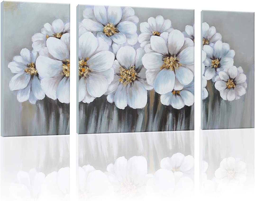 SDYA Hand Painted White Flowers Landscape Picture Wall Art Painting Canvas Art 60 inches X 30 inches Framed and Stretched 3 Panels