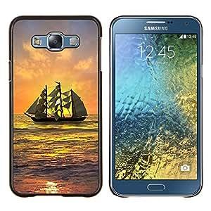 Jordan Colourful Shop - SHIP SAILING SUNSET SEA OCEAN SKY WAVES For Samsung Galaxy E7 E7000 - < Personalizado negro cubierta de la caja de pl????stico > -