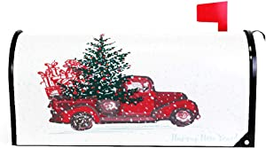 Christmas Red Truck Car Tree Snow Magnetic Mailbox Cover MailWraps Standard Size 20.8