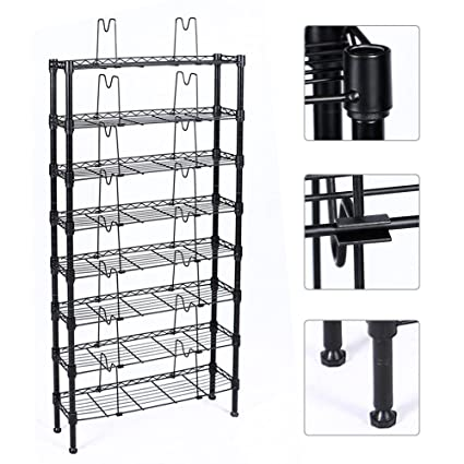 Topeakmart 8 Tier Adjustable Metal Media Storage Rack 432 DVD 228 CD 120  VHS Shelf,