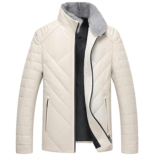 Amazon.com: Fresh -house Winter New Luxury Genuine Leather Coat Men Thick Warm Down Jacket Mink f-ur Collar Outwear Clothes: Clothing