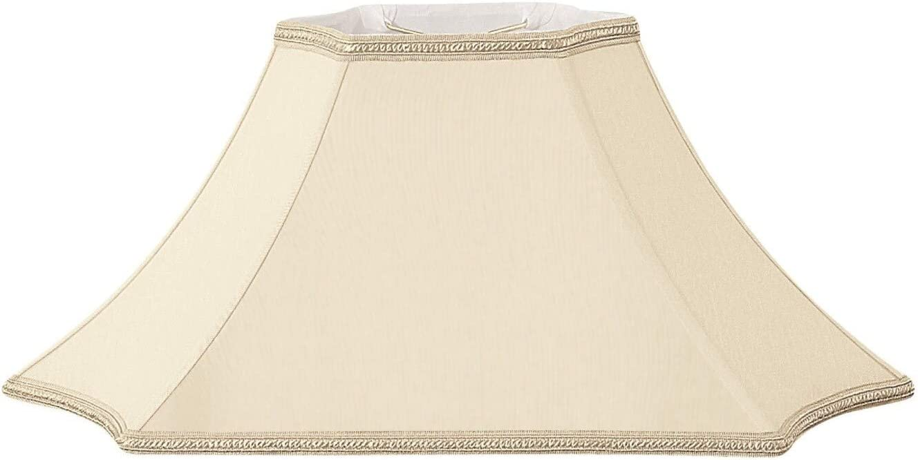 Royal Designs Rectangle Inverted Cut Corner Designer Lamp Shade, Beige, 9 x 5 x 23.5 x 11.5 x 12.5