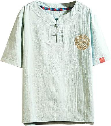 Camiseta de Manga Corta para Hombre, diseño Vintage con Parches de Lino y Bordados (Tallas Regulares y Grandes y Altas): Amazon.es: Ropa y accesorios