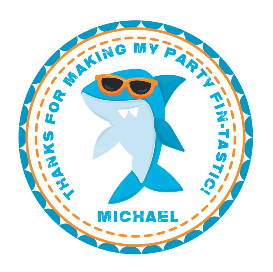Shark Birthday Party Favor Stickers