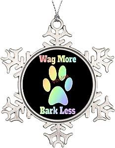 VinMea Xmas Snowflake Ornaments Wag More Bark Less Metal Snowflake Ornaments Ideas for Decorating Christmas Trees