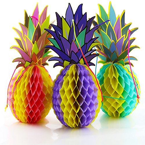 BcPowr 3 PCS 12 Inch Tissue Paper Pineapple Honeycombs Hawaiian Theme Decoration Multi-colored Large Honeycomb Pineapple]()