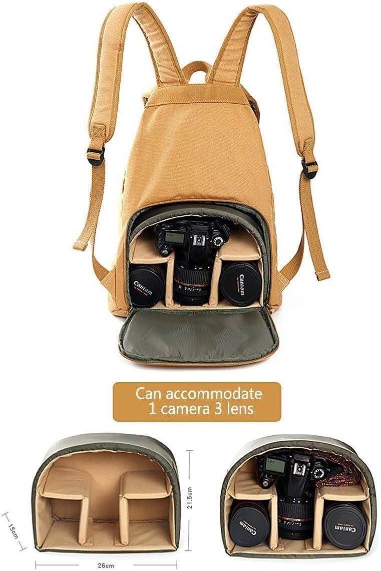 Zhengtufuzhuang New Khaki Retro Large-Capacity Multi-Function Shock-Proof Camera Travel Bag Stylish Canvas Camera Backpack Tripod Lens and Accessories //28 X 20 X 45cm Versatile