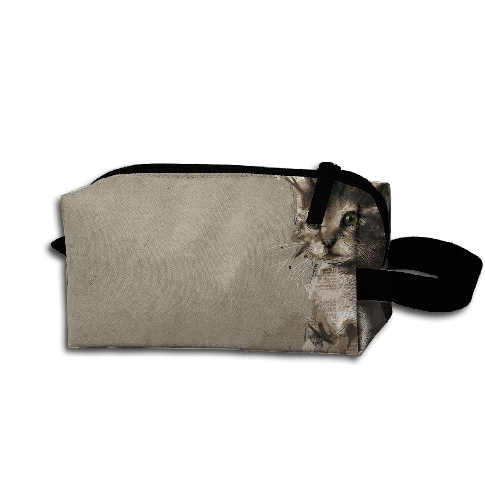 Makeup Cosmetic Bag Animals Pet Cat Painting Zip Travel Portable Storage Pouch For Men Women