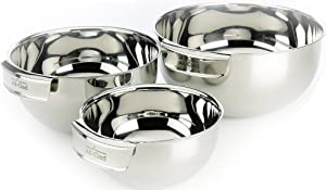 All-Clad Stainless Steel Dishwasher Safe Mixing Bowls Set Kitchen Accessorie, 3-Piece, Silver