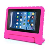 for Amazon Kindle Fire HD 7 2015, Internet Kids Shock Proof EVA Handle Case Cover (Hot Pink)