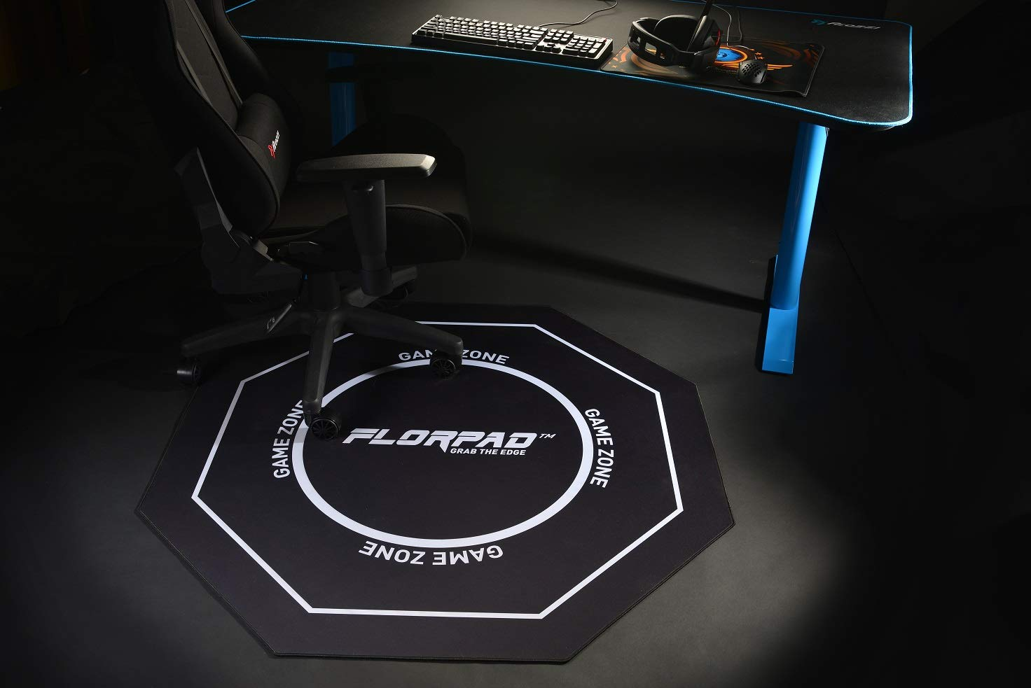 Florpad - Game Zone - Tapete Protector para el Piso y la Alfombra de la Silla de Juego para el Escritorio en el hogar - Resistente al Agua - Apto para ...