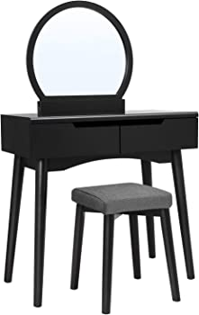 Vasagle Makeup Dressing Table Vanity Set with Round Mirror