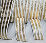 Top Hunter 3/5'' 10 Yds Soft Fold Over Elastic Gold Stripe Printed Stretch Ribbon FOE For Hair Tie Hair Band Headband Accessories,white