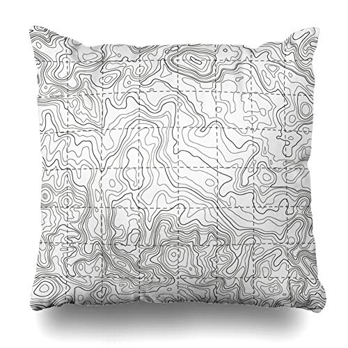 AlliuCoo Throw Pillow Covers Plan Topography Topographic Map Topo Contour Cartography Isoline Nature Pattern Topology Abstract Home Decor Zippered Cushion Case Square Size 18