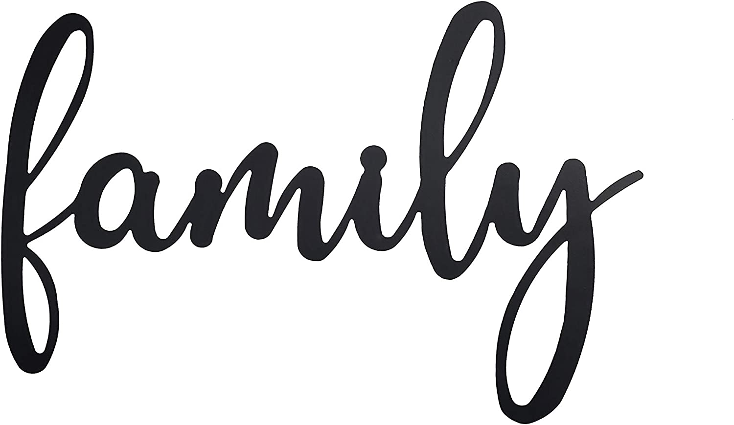 Metal Black Family Sign, Family Wall Decor, (16 x 10 1/4 x 1/16 inches)