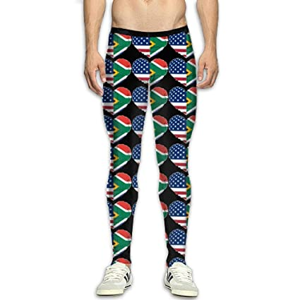 a3ee734e7ef274 Image Unavailable. Image not available for. Color: NKUANYJYDKN7 Men's South  African USA Flag Heart Yoga Pants Sports Tights ...
