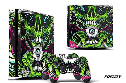 (247Skins Designer Decal for PlayStation 4 SLIM System plus Two (2) Decals for PS4 Dualshock Controller -)
