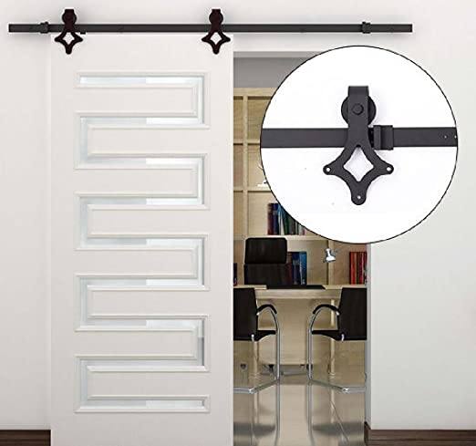 Purplebox Home Series Nueva 6 ft Moderno Carbono Acero Madera Granero Puerta corredera Pista Hardware Set: Amazon.es: Hogar