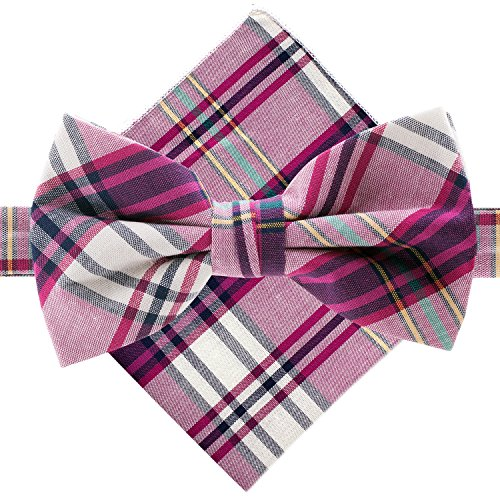 Plaid Bowties (Man of Men - Bowtie & Pocket Square - Purple & White Plaid)