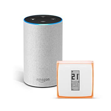 Amazon Echo (2.ª generación), tela de color gris claro + Netatmo
