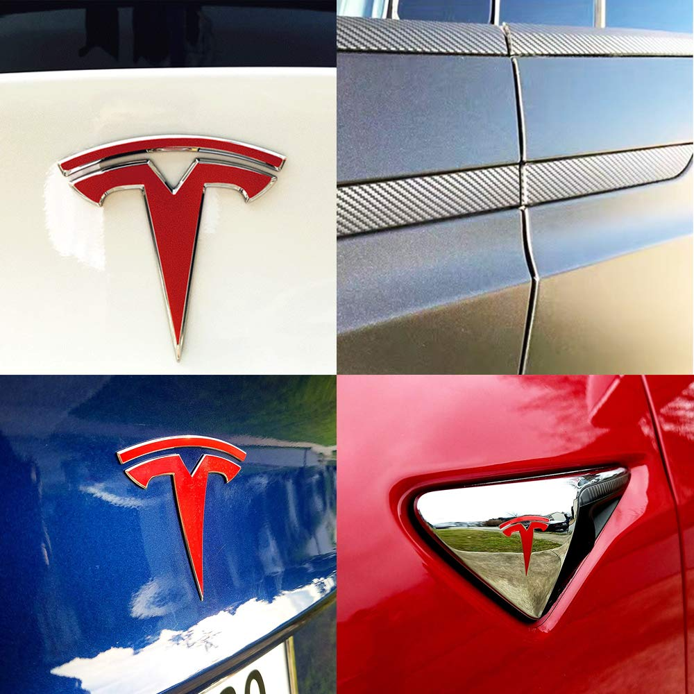 16 Pieces Stickers - Black Stickers CoolKo Car Special Modification Parts Carbon Fiber Stickers Protection Compatible with Model X