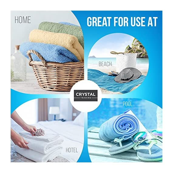 """CrystalTowels 7-Pack Bath Towels - Extra-Absorbent - 100% Cotton - 27"""" x 52"""" - OPTIMAL COMFORT. To provide long-lasting strength and use throughout the years, these Crystal Towels are made using 100% cotton fabric. The material is breathable and naturally soft to the touch, extremely pleasing against your skin so you can wrap yourself in soft comfort after bathing. GENEROUSLY SIZED. Practical for quick drying, ample coverage and comfortable lounging, each towel measures 27"""" x 52"""" in size. In addition to fulfilling your bath needs, this sufficient size makes them ideal for use on the beach or at a poolside. SUFFICIENT SUPPLY. Suitable for individuals, couples and families, these towels come in a convenient, 7-pack set to provide you with an ample supply. Everyone can enjoy the soft, plush comfort after bathing - with fewer washings in between. - bathroom-linens, bathroom, bath-towels - 61nDWRyU1jL. SS570  -"""
