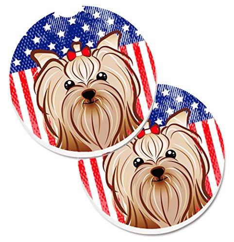(Caroline's Treasures American Flag & Yorkie Yorkishire Terrier Set of 2 Cup Holder Car Coasters BB2134CARC, 2.56, Multicolor)