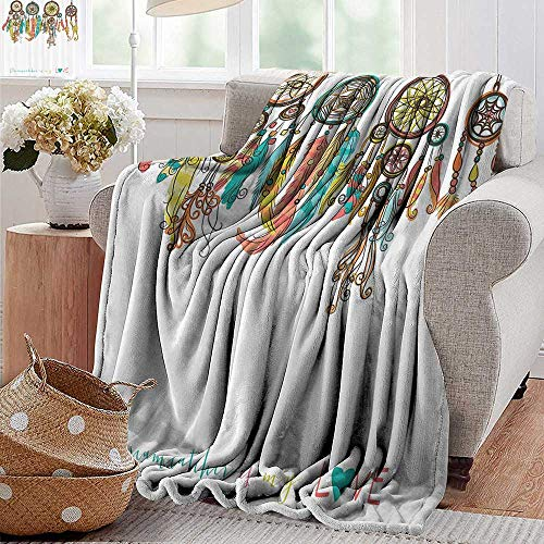 PearlRolan Wearable Blanket,Native American Decor,Set of Colorful Ethnic Dreamcatchers Native American Tribal Elements in Mod Graphic,Multi,300GSM, Super Soft and Warm, Durable 50