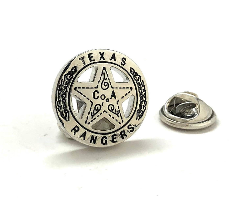 メンズエグゼクティブCufflinks Texas RangerラペルピンOld WestシルバートーンLone StarバッジLone RangerタイタックComes B07B9J4ZX7