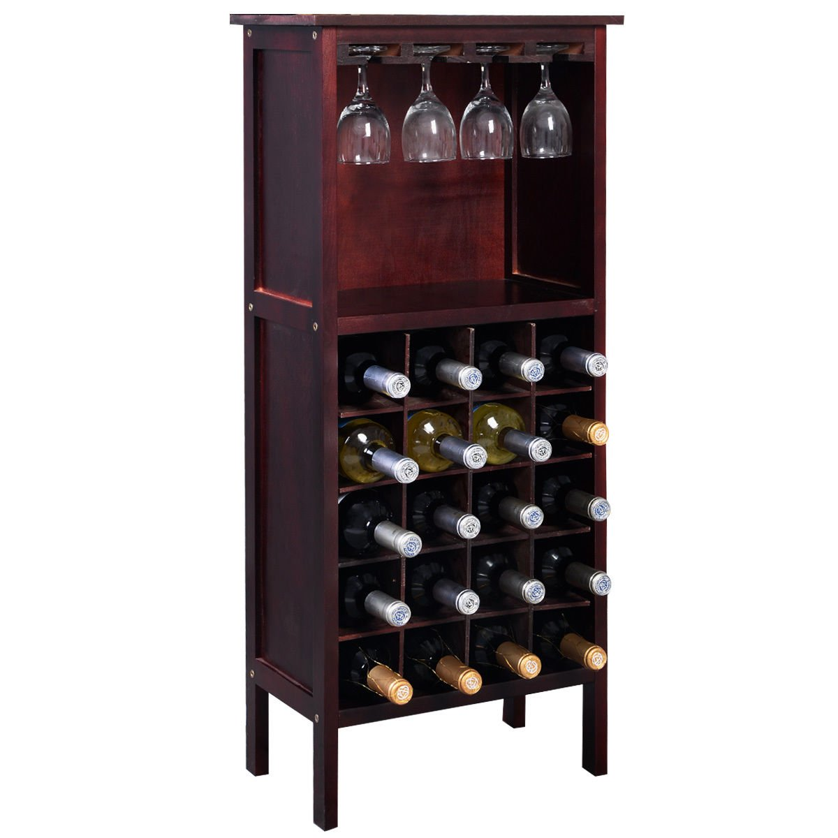 allblessings777 Wood Wine Bottle Holder Storage Cabinet Kitchen Home Bar w/Glass Rack