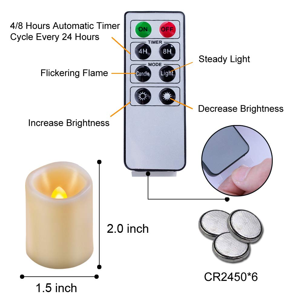 Beichi Set of 6 Remote Control Votive Candles Battery Operated, Flameless Flickering Tealight Candles, LED Timer Tea Lights in Amber Yellow Flame, Unscented Outdoor Electric Candles, D1.5''x2''H by Beichi (Image #7)