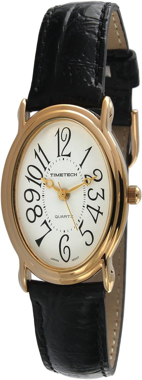 TIMETECH Women s Easy Reader Watch White dial Black strap