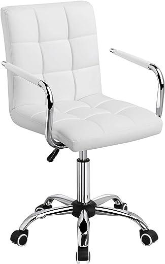 Yaheetech Bürostuhl Drehstuhl Schreibtischstuhl Drehocker Arbeitshocker Chefsessel, höhenverstellbar aus Kunstleder Weiß