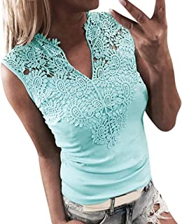 MEIbax Mode Damen Lace Sleeveless Patchwork V-Ausschnitt Shirt Tank Weste Bluse Tank Top Crop