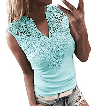 765bf374d7ed67 Image Unavailable. Image not available for. Color: Jiayit Women's T-shirt  Sexy Fashion Solid Lace Sleeveless Patchwork V-Neck ...