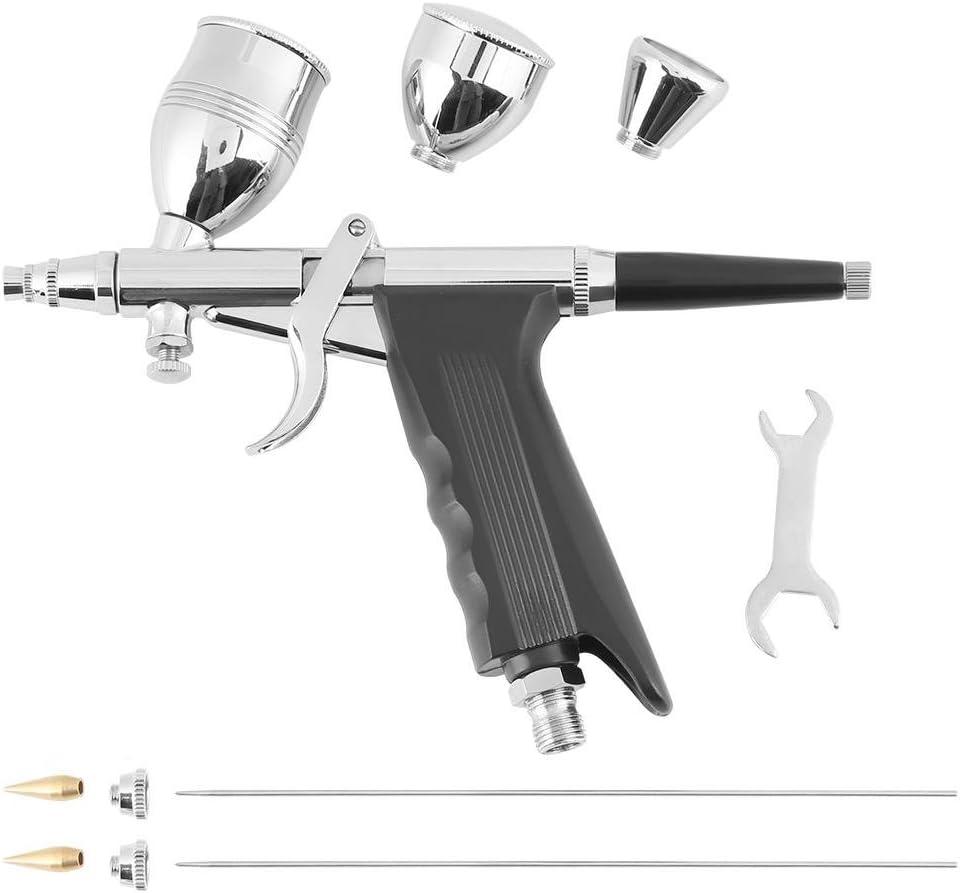 Kit de aerógrafo profesional, diseño dividido de alta precisión, pistola con tres formatos de boquillas de 0,3 mm, 0,5 mm, 0,8 mm para tatuajes Nail Art Maquillaje Spray con kit de limpieza aerógrafo