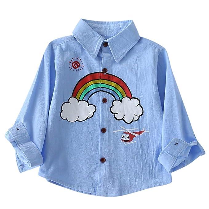 f5a3aeb27 K-youth Niñas Camisetas para 18 Meses a 6 Años Chic Arcoiris Impresión Niños  Bebé