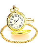 Jechin Classic Mens Gold Tone Quartz Pocket Watch with Beautiful Watch Box