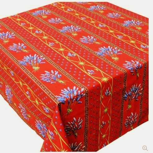 60x96'' Rectangular Lavender Red Cotton Coated Provence Tablecloth by Le Cluny by Le Cluny French Linens