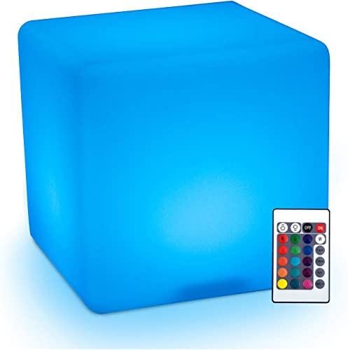 HOMCOM 16 RGB Waterproof Rechargeable Adjustable Color Changing Cube With Remote Control