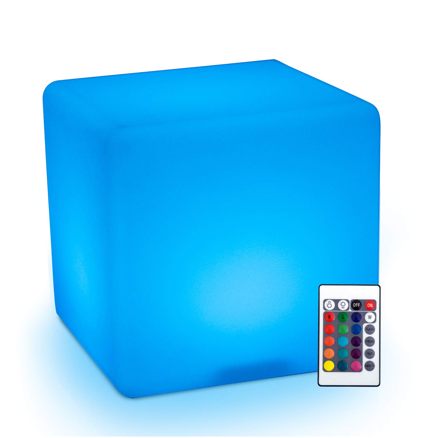 HomCom 16'' RGB Waterproof Rechargeable Adjustable Color Changing Cube With Remote Control