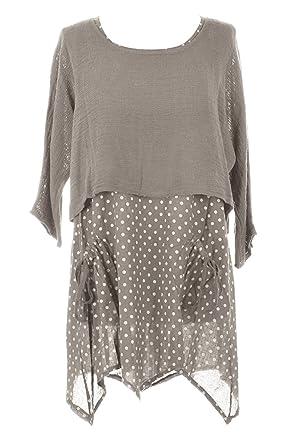 d876b2971a1 Ladies Womens Italian Lagenlook Polka Dot Spotted Linen Cotton Tunic Dress  Plain Cotton Bolero Shrug Top 2 Piece Twin Set One Size UK 8-16 (Mocha)  ...