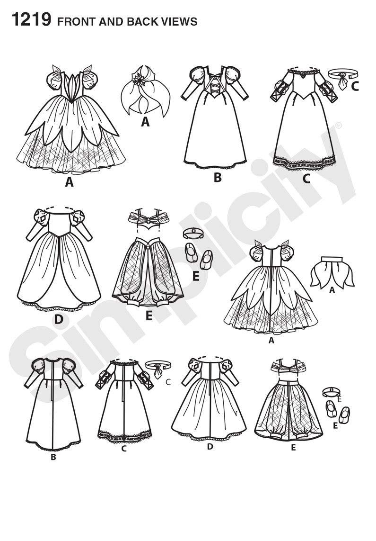 Simplicity 1217 tamaño OS Disney Princesa patrón de Costura para ...
