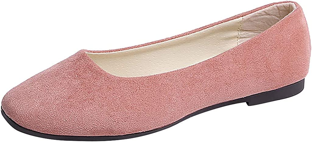 Classic Comfortable Shoes Ideal Occasions RQWEIN Womens Classic Round Toe Ballerina Ballet Slip On Flat Shoes(Pink,9.5)