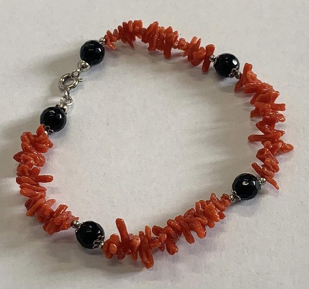 Stilose Pulsera de Coral Rojo Natural con Elementos de ónix facetado y Cierre de Plata 925