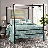 Mainstays Metal Canopy Bed, Queen, Black