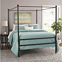Mainstays Metal Canopy Bed, Queen, Black