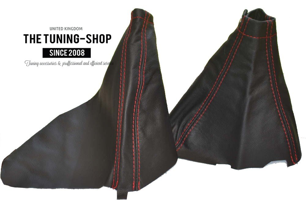 For Subaru Impreza WRX 2007-12 Shift & E brake Boot Black Genuine Leather Red Stitching The Tuning-Shop Ltd